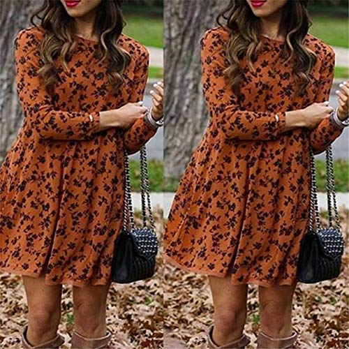 GROSIU& UK Womens Floral Long Sleeve Dress Ladies Winter Casual Holiday Midi Dresses Top Pale Orange 2XL=16