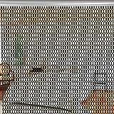 Yosoo 90*214.5cm Cortina de Puerta de Tira de Cadena de Aluminio, Pantalla de la Puerta para Mosca Plaga Insecto y Decoración (Negro)
