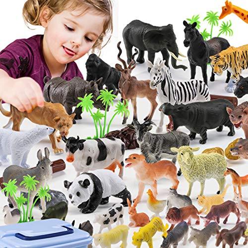 YAHAMA 44 Stücke Tiere Figuren Mini Wilde Tiere Spielzeug Tierfiguren Set Zoo