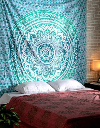 RAJRANG Tapiz pared, tapices de mandala pared, Psychedelic Tapestry Mandala, colgar en la pared, Hippie Wall Hanging Tapestry