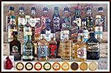 Adventskalender 24 Whisky Miniaturen mit 24 Edel Schokoladen (2 Meersalztaler) 24 rote Satinbeutel, kostenloser Versand