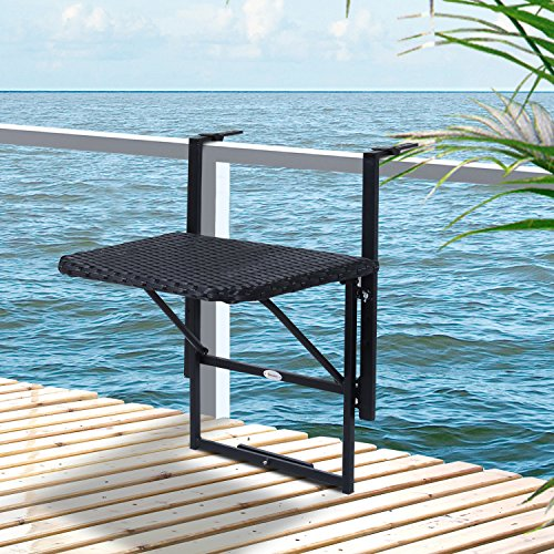 d150cad36c89b Table suspendue pour balcon 58L x 55l cm hauteur réglable et pliable résine  tressée 4 fils