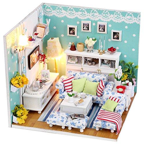 Preisvergleich Produktbild Qearly Handgefertigt Holz Miniatur Puppenhaus Geschenk Mini Haus DIY Dollhouse Kit Moebel Mit Abdeckung und LED Licht-Wohnzimmer