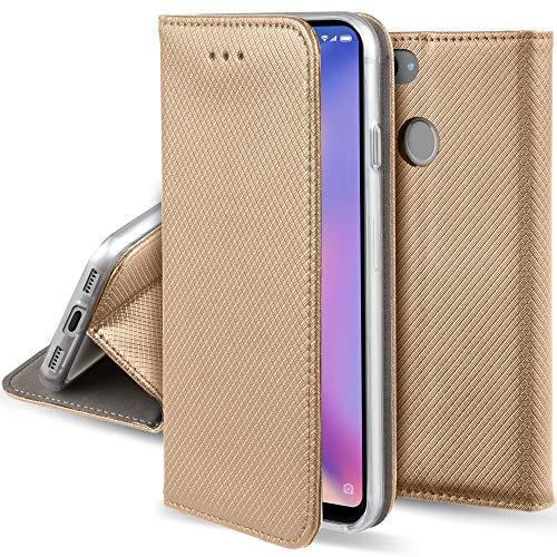 Moozy Funda para Xiaomi Mi 8 Lite, Dorado - Flip Cover Smart Magnética con Stand Plegable y Soporte de Silicona