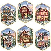 """Ornamenti Oro Collezione Natale villaggio contato Cross St-5"""" Lunga Serie di Sei Avorio"""