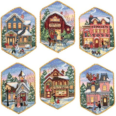 Gold Collection Christmas Village Ornaments Counted Cross St-5
