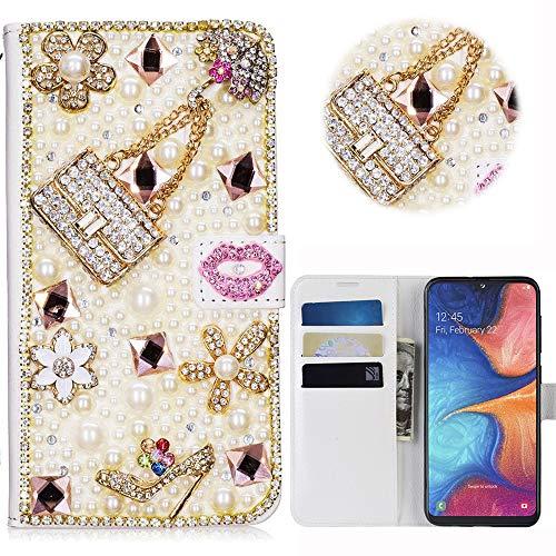 Print Strass-handtasche Geldbeutel (Samsung Galaxy A20E Glitter Hülle Case,3D Handtasche Absatz Lippe Strass Diamant Weiße Ledertasche PU Lederhülle Flip Hülle Ständer Wallet Tasche Schutzhülle Glitzer Handy Case für Galaxy A20E)