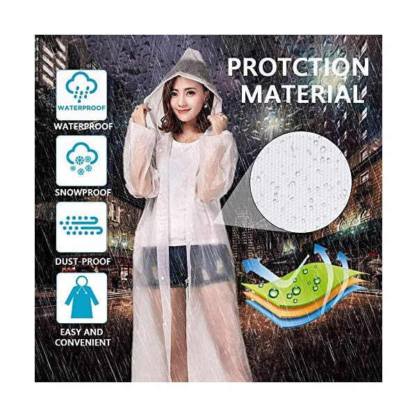 Luoistu Reusable Rain Ponchos, EVA Waterproof Raincoat with Drawstring Hood and Long Sleeves; Emergency Poncho (145cm / 57inch) for Travel, Festivals, Theme Parks and Outdoors 3
