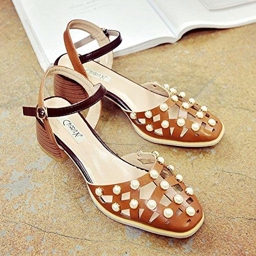 spesso Donne RUGAI cava scarpe UE retrò scarpe sandali Light estivi fibbia Brown wZBqFHZ