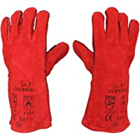 1 x Welding Gloves Long Leather Gaunlets Heat Resistant Lined MIG ARC Welders