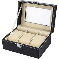 SYGA Faux Leather Finish 3 Slot Cavity Wrist Watch Storage Box Display Case Organizer with Glass Window (Black)