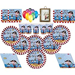 Paquete para fiesta Infantil pirata, 16 Invitados.