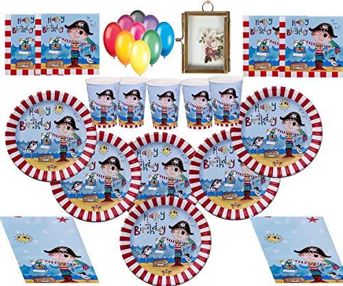 Piraten Kinder Party Geburtstag Dekorationen Teller Tassen Servietten Tischdecke mit kostenlosen Luftballons und Fotorahmen-16 ()