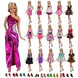 Miunana 22 Pezzi = 12 PCS Abiti Vestiti Alla Moda Fashion + 10 PCS Scarpe Selezionati A Caso Per Principessa Bambola Barbie Dolls Regalo Di Compleanno Festa