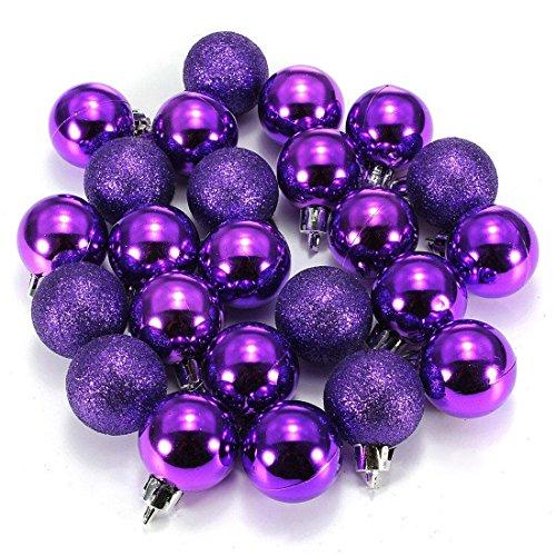 TOOGOO(R) 24Pcs Boules XMAS brillantes simples Chic Violet de l'ornment de l'arbe Noel