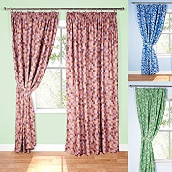 Pixel Ready-Made Light-Reducing Curtains (Brown, 117 x 137cm (46\