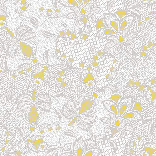 ten 40x40 cm | Premium Einweg-Serviette | textilähnlich und saugstark | perfekt für Hochzeit & Partys | 50 Stück | Dion (Grau-Gelb) ()