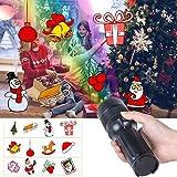 LED Weihnachtsbeleuchtung Projektor Lampe, UNIFUN Kinder Projektor Taschenlampe Tragbar mit Batterie Weihnachtsdeko Licht Projektor für Garten/Party/Weihnachten/Außen Innen