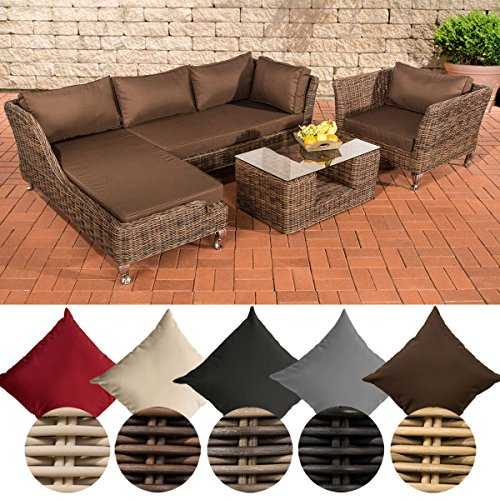 CLP Poly-Rattan Lounge Set MOSS, 5 mm RUND-Geflecht, 4 Sitzplätze, mit Ecksofa Rattan Farbe braun-meliert, Bezugfarbe: Terrabraun