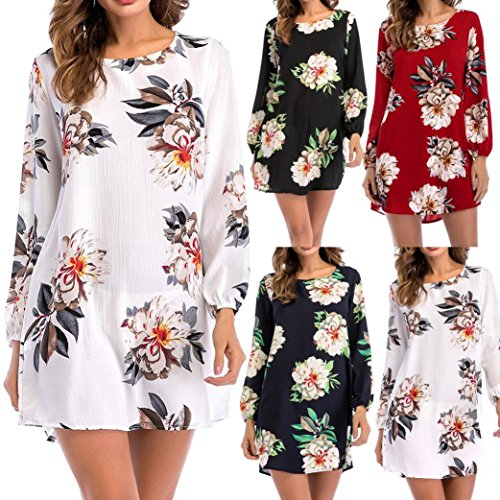 Toamen New Women's Spring Summer Fashion Casual Floral Print Long Sleeve O-Neck Bow Mini Dress Tops Blouse