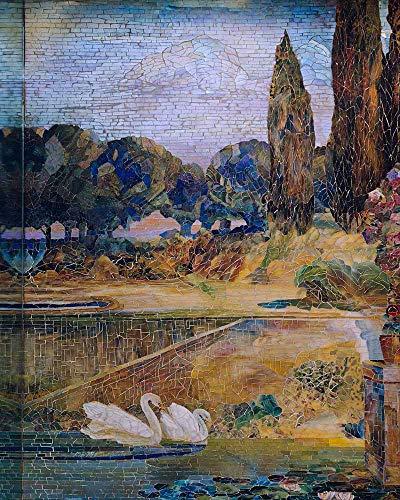 JH Lacrocon Louis Comfort Tiffany - Garten Landschaft 4 Leinwandbilder Reproduktionen Gerollte 70X90 cm - Muster Gemälde Vintage Gedruckt Wandkunst