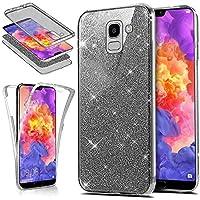 Uposao Samsung Galaxy A6 2018 Hülle 360 Full Body Cover Luxus Bling Kristall Glänzend Glitzer Komplettschutz Vorder und Rückseiten Hülle Transparent Crystal Clear Case Cover Hülle,Schwarz