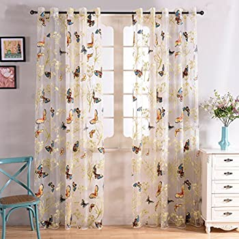 Good Top Finel Butterfly Print Voile Window Net Curtain Panels For Girls Living  Room 54 Inch Part 31