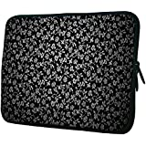 """Snoogg White Roses In Black 15"""" 15.5"""" 15.6"""" Inch Laptop Notebook Slipcase Sleeve Soft Case Carrying Case For MacBook Pro Acer Asus Dell Hp Sony Toshiba"""