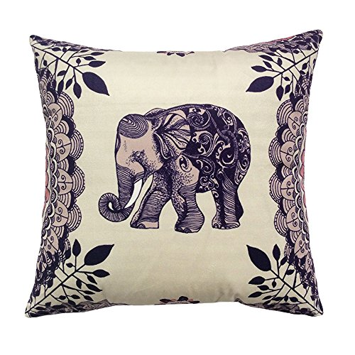 Coolsummer Elephant Pattern Vintage Stampa Digitale quadrato Throw Pillow Cover