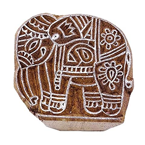 Wooden Wood Stamps Carved Indian Elephant Stamp Brown Textile Hand Block Print
