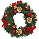 matches21 Dekorierter Türkranz / weihnachtlich rot dekoriert / warmweiße LED Beleuchtung Ø 30 cm Weihnachtsdeko / batteriebetrieben