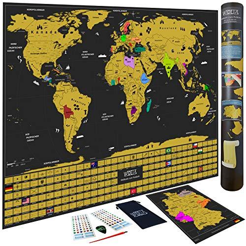 WIDETA Weltkarte zum Rubbeln in deutsch mit Länderflaggen/Größe XXL (82 x 60 cm) mit Sticker, Rubbelchip und Rubbelstift / + Bonus Deutschlandkarte/Made in Germany