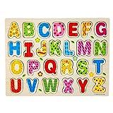 Omiky® 26pcs Holz Alphabet Englisch Buchstaben Puzzle Jigsaw pädagogisches Spielzeug (Bunt)