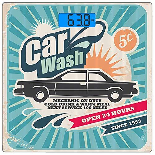 Digitale Präzisionswaage für das Körpergewicht Platz 1950er Jahre Set Ultra dünne ausgeglichenes Glas-Badezimmerwaage-genaue Gewichts-Maße,Retro-Autowaschanlage Auto-Service-Reparatur-Plakat-Art-Kunst -