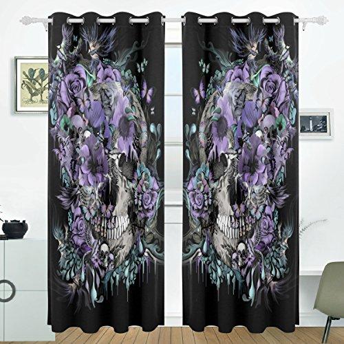 coosun Creative Totenkopf Design Verdunklungsvorhänge Abdunkelung isoliert Polyester Tülle Top Rollo Vorhang für Schlafzimmer, Wohnzimmer, 2Panel (55W X 84L Zoll), Polyester, Multicolor#2, 84x55 in (Tülle Oben 84 Vorhänge)