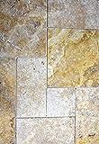 Fliese Travertin Naturstein gelb Fliese Römischer Verband Gold Antique Travertin für BODEN WAND BAD WC DUSCHE KÜCHE FLIESENSPIEGEL THEKENVERKLEIDUNG BADEWANNENVERKLEIDUNG Mosaikmatte Mosaikplatte