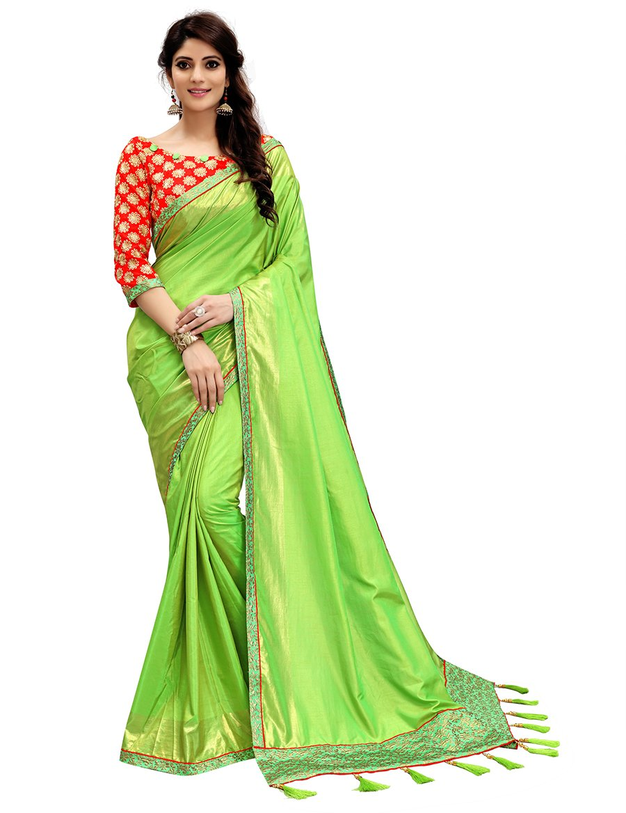 Women's 2 Tone Silk Saree with Blouse Piece