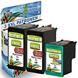 Premium Conjunto de 3 cartuchos de tinta compatible con HP 350 XL + HP 351 XL Para PhotoSmart C4270 C4272 C4280 C4340 C4285 C4500 series C4485 C4580 C4585 D5360 C4205 C4450 C4480 C4472 C4524 C4380 C4599 C5280 C4340 C4380 Wifi C4400 seriesC5270 C5200 series C4200 C5250 C4494 C4200 series DeskJet D4260 D4360 OfficeJet J6410 J5780 J5730 J6413 (Negro , Coloreada) 2x350-1x351-hp