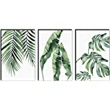 SAF Set of 3 Preety green leaf modern art MDF Self Adhessive UV Textured Painting 36 Inch X 18 Inch( Each Painting Size 12 In