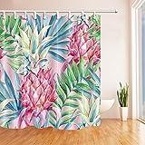 GoHEBE Exotic Garden Pflanze Decor Watercolor Ananas mit Palm Blätter Polyester-Schimmelresistent-Dusche für Badezimmer Vorhänge Duschvorhang Haken enthaltene 180,3x 180,3cm Pink