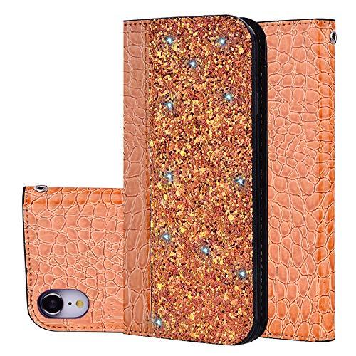 GOBY Custodia iPhone XR Cover Portafoglio Glitter Cover Libro Bling con Strass Pelle Bumper Protettiva Flip Wallet Case Cover per iPhone XR