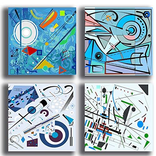 Quadri Moderni KANDINSKY blu celeste 4 pezzi Stampa Tela CANVAS Arredamento Arte Astratto XXL Arredo per soggiorno salotto camera da letto cucina ufficio bar ristorante (4 pezzi 40x40 cm cad.)