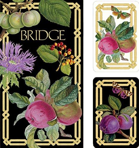 Caspari Mittelmeer Garden Bridge Set inkl. 2Decks Spielkarten/4Score Pads/4Bleistifte, Holz, Mehrfarbig, 7,8x 20.35X 0,55cm