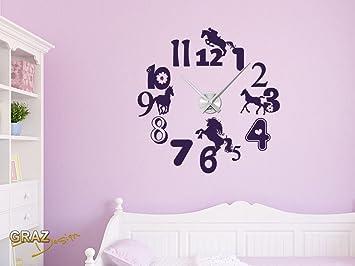 sticker mural décoration avec horloge chambre d enfants fleur