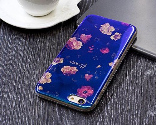 EKINHUI Case Cover Für Apple IPhone 6 & 6s Plus Blumenkasten, Ultra Thin Light Gewicht Shockproof Luxus Blaues Licht TPU Silikon Gel Schutzhülle ( Color : F ) B