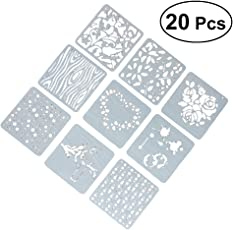 SUPVOX 20pcs Plastic Painting Drawing Templates Hallow Out Graphics Stencils Templates for DIY Photo Album Scrapbooking (Mixed Pattern)