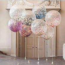 DoTech 4 Pcs 36 Pulgadas Confetti Balloon Transparentes Látex Globos Llenos de Confeti Colorido para el Hogar Aniversario de Boda Fiesta de Cumpleaños Stage Mall Baby Shower Decoraciones (36 inch)
