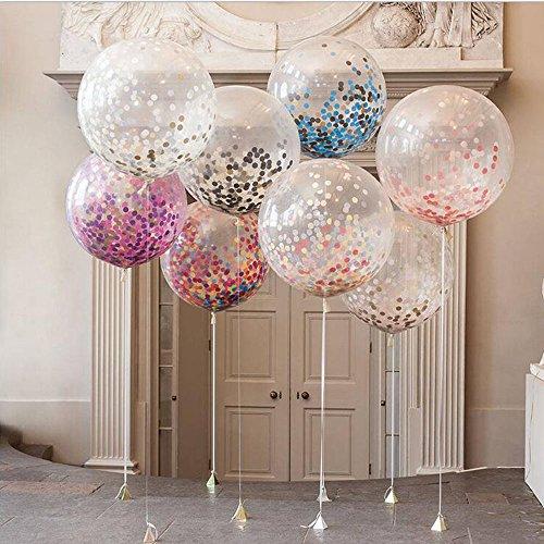 DoTech 4 Stück 36 inch Konfetti Luftballons Giant Transparent Latex Balloons Gefüllte Farbige Confetti für Geburtstagsfeier Hochzeit Party Dekorationen (36 inch) (Luftballons Konfetti)