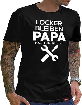 Hariz - Maglietta da uomo, collezione Papa, 36 design a scelta, colore nero, per festa del papà, Natale, regalo con certificato di garanzia