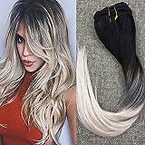 Full Shine 22 Zoll 7 Stück Clip in Real Remy Haarverlängerungen Ombre Balayage Farbe #1B Verblassen zu #18 und #60 Blonde Dip Gefärbt Erweiterungen